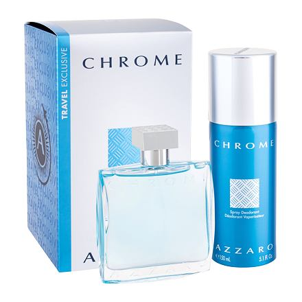 Azzaro Chrome sada toaletní voda 100 ml + deodorant 150 ml pro muže