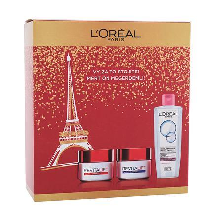 L´Oréal Paris Revitalift sada denní pleťový krém Revitalift 50 ml + noční pleťový krém Revitalift 50 ml + micelární voda 200 ml pro ženy