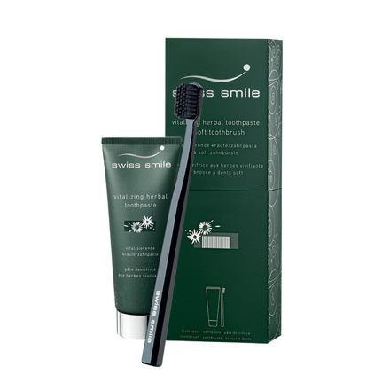 swiss smile Vitalizing Herbal sada zubní pasta Vitalizing Herbal 75 ml + zubní kartáček Sensitive-So