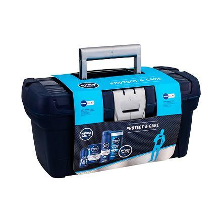 Nivea Men Protect & Care sada sprchový gel 250 ml + voda po holení 100 ml + antiperspirant roll-on 50 ml + univerzální krém Men Creme 150 ml + gel na holení 200 ml + box na nářadí pro muže