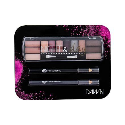 2K Night & Day odstín Dawn sada paletka očních stínů 8,16 g + tužka na oči 0,6 g Black + tužka na oči 0,6 g Grey pro ženy