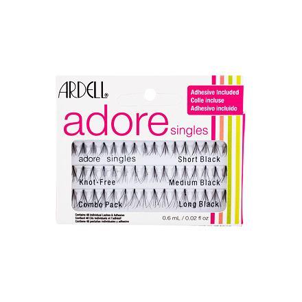 Ardell Adore Singles sada trsové řasy 16 ks Short Black + trsové řasy 16 ks Medium Black + trsové řasy 16 ks Long Black + lepidlo na řasy 0,6 ml pro ženy