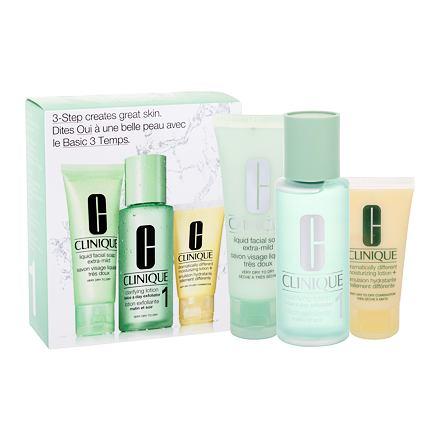 Clinique 3-Step Skin Care 1 sada čisticí voda Clarifying Lotion 1 100 ml + čisticí mýdlo Liquid Facial Soap Extra Mild 50 ml + hydratační přípravek DDML 30 ml pro ženy