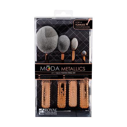 Royal & Langnickel Moda Metallics Face Perfecting sada štětec na make-up 1 ks + štětec na tvářenku 1 ks + štětec na konturování 1 ks + štětec na korektor 1 ks