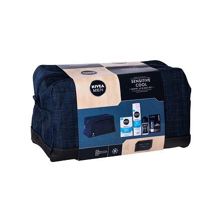 Nivea Men Sensitive Cooling sada balzám po holení 100 ml + gel na holení 200 ml + antipespirant roll-on Cool Kick 50 ml + balzám na rty Labello Active For Men 4,8 g + kosmetická taška pro muže