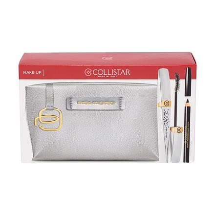 Collistar Shock odstín Black Shock sada řasenka 8 ml + tužka na oči 2 g Black + kosmetická taštička Piquadro