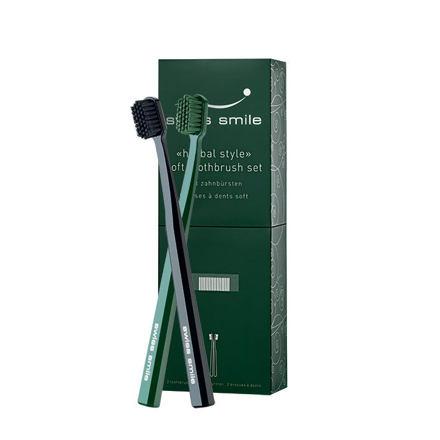 swiss smile Herbal Style sada měkký zubní kartáček Black 1 ks + měkký zubní kartáček Green 1 ks