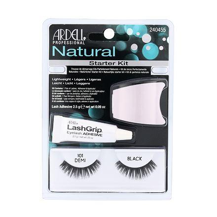 Ardell Natural Demi 101 odstín Black sada umělé řasy 1 pár + lepidlo na řasy LashGrip 2,5 g + aplikátor 1 ks pro ženy
