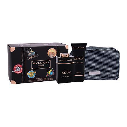 Bvlgari Man In Black sada parfémovaná voda 100 ml + balsam po holení 100 ml + kosmetická taštička pro muže