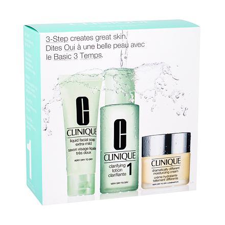 Clinique 3-Step Skin Care 1 sada Dramatically Different Moisturizing Cream 30 ml + Liquid Facial Soap Extra Mild 50 ml + Clarifying Lotion 1 100 ml pro ženy