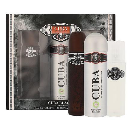 Cuba Black sada toaletní voda 100 ml + voda po holení 100 ml + deodorant 200 ml pro muže