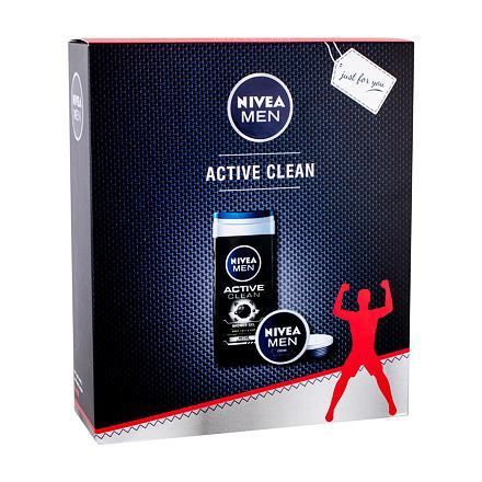 Nivea Men Active Clean sada sprchový gel 250 ml + univerzální krém Men Creme 75 ml pro muže