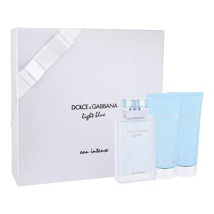 Dolce&Gabbana Light Blue Eau Intense sada parfémovaná voda 100 ml + tělový krém 100 ml + sprchový gel 100 ml pro ženy
