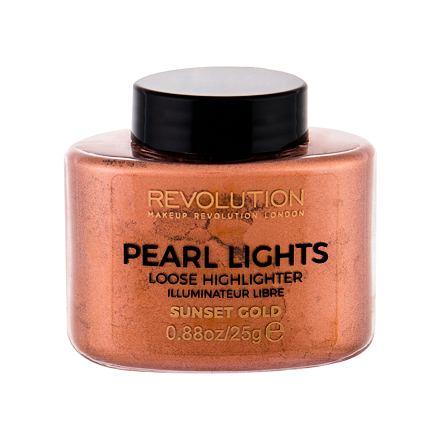 Makeup Revolution London Pearl Lights sypký rozjasňovač 25 g odstín Sunset Gold
