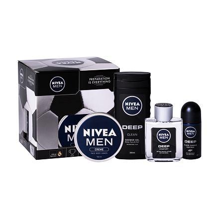 Nivea Men Deep Comfort sada voda po holení 100 ml + sprchový gel 250 ml + antiperspirant roll-on 50 ml + univerzální krém Men Creme 150 ml pro muže