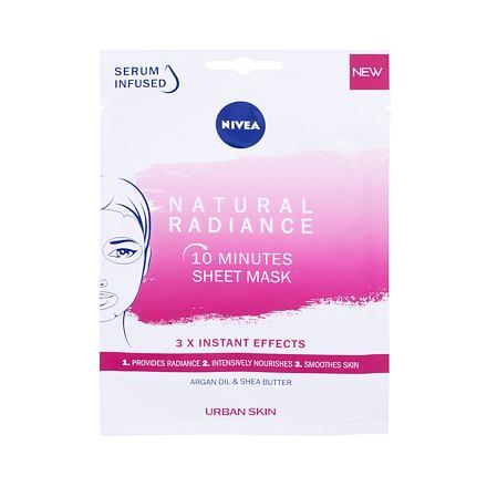 Nivea Natural Radiance 10 Minutes Sheet Mask rozjasňující plátýnková maska s arganovým olejem 1 ks pro ženy