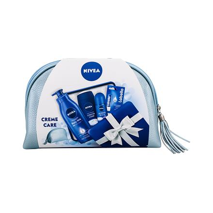 Nivea Creme Care sada sprchový gel 250 ml + antiperspirant Protect & Care 50 ml + tělové mléko Body Milk 400 ml + balzám na rty Labello Original 4,8 g + kosmetická taška pro ženy