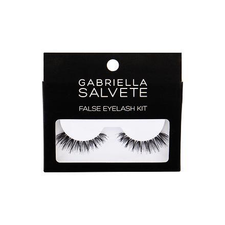 Gabriella Salvete False Eyelashes odstín Black sada umělé řasy 1 pár + lepidlo na řasy 1 g pro ženy