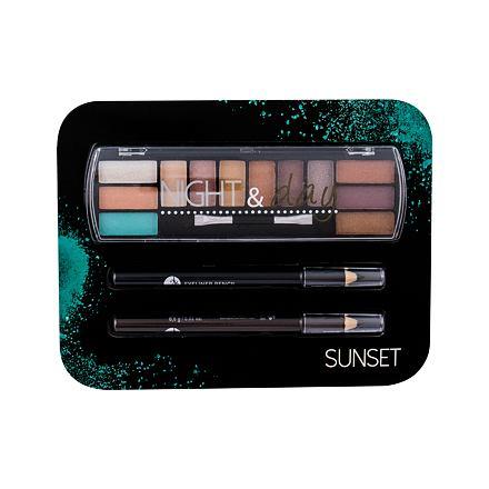 2K Night & Day odstín Sunset sada paletka očních stínů 8,16 g + tužka na oči 0,6 g Black + tužka na oči 0,6 g Brown pro ženy