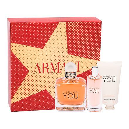 Giorgio Armani Emporio Armani In Love With You sada parfémovaná voda 100 ml + parfémovaná voda 15 ml + krém na ruce 50 ml pro ženy