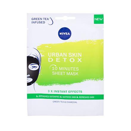 Nivea Urban Skin Detox 10 Minutes Sheet Mask detoxikační plátýnková maska se zeleným čajem a uhlím 1 ks pro ženy