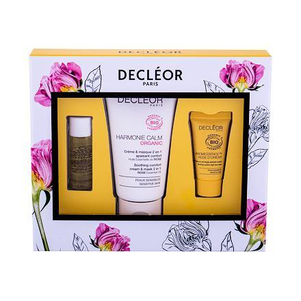 Decleor Harmonie Calm Organic sada pleťový krém 50 ml + pleťový balzám Aromessence Rose D´Orient 2,5 ml + pleťové sérum Aromessence Rose D´Orient 5 ml pro ženy