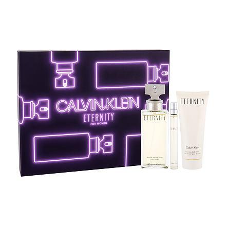 Calvin Klein Eternity sada parfémovaná voda 100 ml + tělové mléko 100 ml + parfémovaná voda 10 ml pro ženy