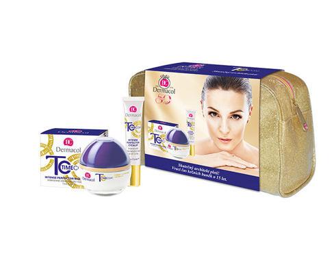 Dermacol Time Coat Intense Perfector SPF 20 denní pleťový krém dárková sada pro ženy - denní pleťový krém SPF20 50 ml + zdokonalující krém na oči a rty 15 ml + taška