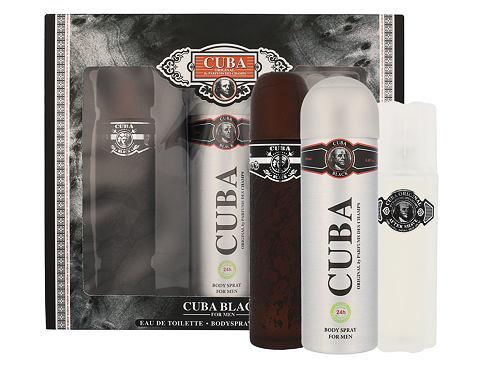 Cuba Black EDT dárková sada pro muže - EDT 100 ml + voda po holení 100 ml + deodorant 200 ml