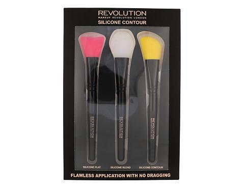 Makeup Revolution London Brushes štětec dárková sada pro ženy - plochý štětec 1 ks + blendovací štětec 1 ks + štětec pro konturování 1 ks