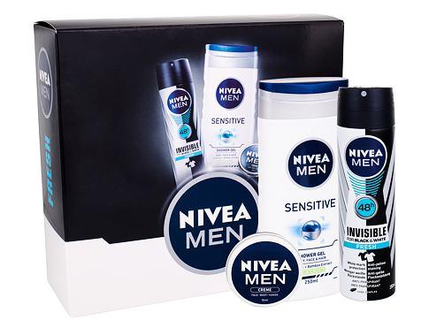 Nivea Men Sensitive sprchový gel dárková sada pro muže - sprchový gel Men Sensitive 250 ml + anti-perspirant Men Invisible For Black & White Fresh 150 ml + univerzální krém Men Creme 30 ml