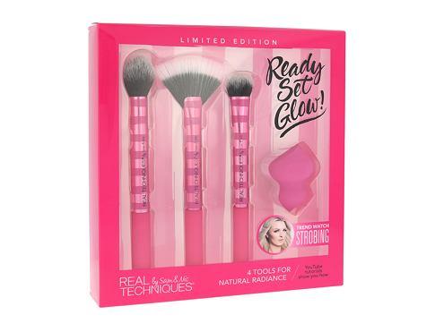 Real Techniques Brushes Ready Set Glow! štětec dárková sada pro ženy - štětec na tvářenku nebo bronzer 1 ks + štětec na pudrový rozjasňovač 1 ks + štětec na tekutý rozjasňovač 1 ks + houbička na make-up 1 ks