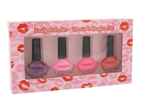 2K Nails With A Kiss lak na nehty dárková sada pro ženy - lak na nehty 4x 6 ml