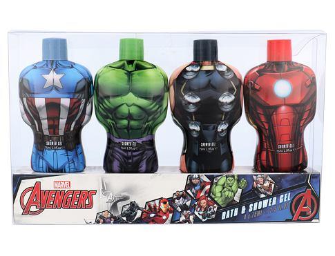 Marvel Avengers sprchový gel dárková sada unisex - sprchový gel 4x 75ml - Hulk + Thor + Iron Man + Captain America