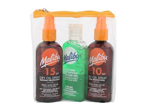 Malibu Dry Oil Spray SPF15 opalovací přípravek na tělo dárková sada voděodolná pro ženy - suchý olej na opalování SPF15 100 ml + suchý olej na opalování SPF10 100 ml + gel po opalování Aloe Vera 100 ml