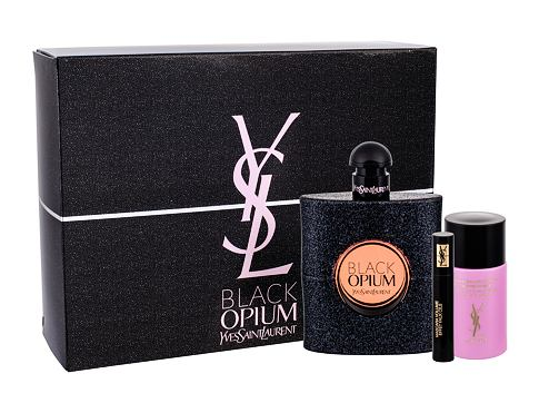 Yves Saint Laurent Black Opium EDP dárková sada pro ženy - EDP 90 ml + řasenka Volume Effet Faux Cils Baby Doll Noir No1 2 ml + odličovač Top Secrets Micellar Water 50 ml