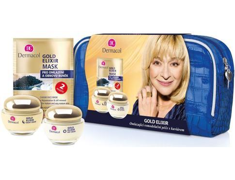 Dermacol Gold Elixir denní pleťový krém dárková sada pro ženy - denní krém 50 ml + noční krém 50 ml + pleťová maska 2x8g