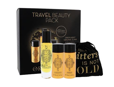Orofluido Beauty Elixir olej a sérum na vlasy dárková sada pro ženy - tekuté zlato Elixir 25 ml + šampon 50 ml + kondicionér 50 ml + sáček