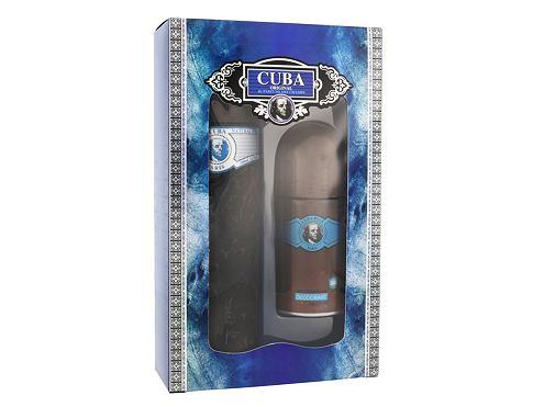 Cuba Blue EDT dárková sada pro muže - EDT 100 ml + deo rollon 50 ml