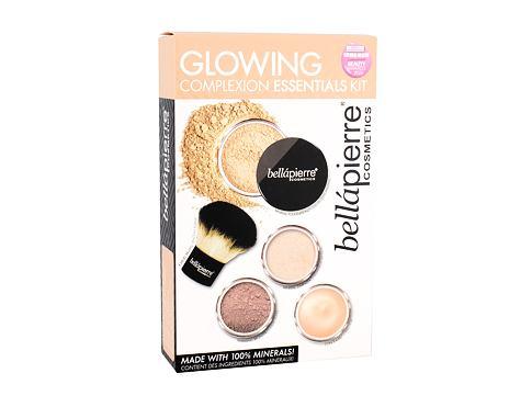 bellápierre Glowing Complexion Essentials makeup dárková sada 2 Medium pro ženy - báze pod make-up 8,5 g + minerální pudrový make-up SPF15 4 g Cinnamon + bronzer 2 g + minerální rozjasňovač 2 g + kabuki štětec 1 ks