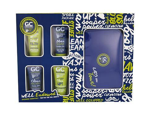Grace Cole Homme Bloke Soak sprchový gel dárková sada pro muže - sprchový gel Bloke Soak 50 ml + šampon Total Filth 50 ml + čisticí přípravek Clean Machine 50 ml + pleťová péče Man Up! 50 ml + kosmetická taška