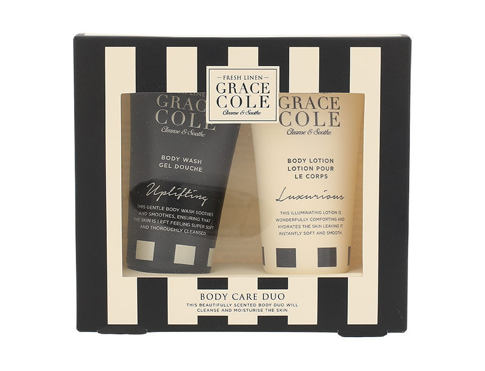 Grace Cole Fresh Linen sprchový gel dárková sada pro ženy - sprchový gel Uplifting 50 ml + tělové mléko Luxurious 50 ml