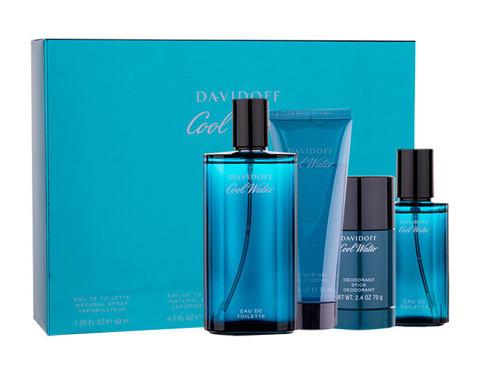 Davidoff Cool Water EDT dárková sada pro muže - EDT 125 ml + deostick 75 ml + sprchový gel 75 ml + EDT 40 ml