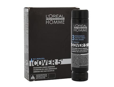 L´Oréal Professionnel Homme Cover 5´ 3x50 ml barva na vlasy 3 Dark Brown pro muže