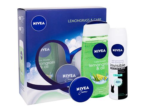 Nivea Lemongrass & Oil sprchový gel dárková sada pro ženy - sprchový gel Lemongrass & Oil 250 ml + anti-perspirant Invisible For Black & White Fresh 150 ml + Nivea Creme 30 ml