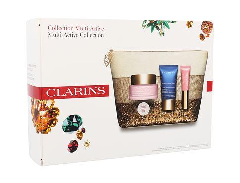 Clarins Multi Active denní pleťový krém dárková sada pro ženy - denní pleťová péče 50 ml + noční pleťová péče 15 ml + tónující balzám Instant Light Natural Lip Perfector 5 ml 01 Rose Shimmer + kosmetická taška