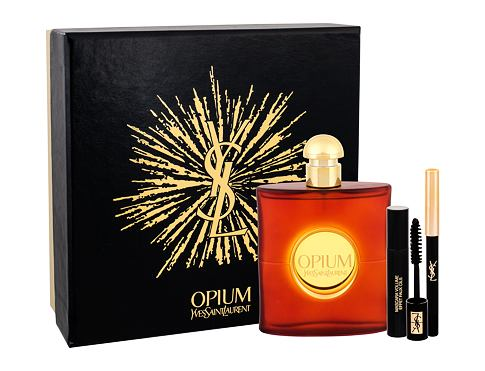 Yves Saint Laurent Opium 2009 EDT dárková sada pro ženy - EDT 90 ml + řasenka Volume Effet Faux Cils N 1 2 ml + tužka na oči Eye Pencil Waterproof 1 0,8 g