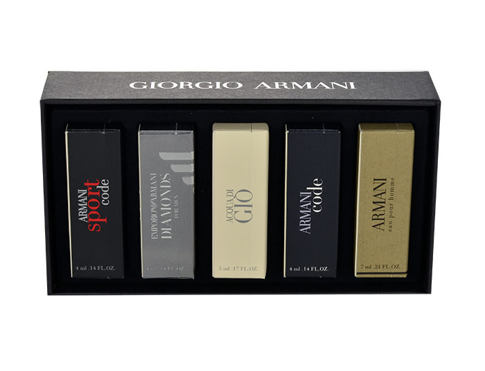 Giorgio Armani Mini Set 5 EDT dárková sada pro muže - edt Black Code 4 ml + edt Acqua di Gio 5 ml + edt Sport Code 4 ml + edt Emporio Diamonds 4 ml + edt Eau Pour Homme 7 ml