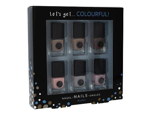 2K Let´s Get Colourful! Nudes lak na nehty dárková sada pro ženy - lak na nehty 6x 5 ml