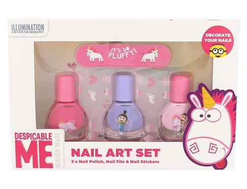 Minions Unicorns lak na nehty dárková sada unisex - lak na nehty 3 x 4 ml + pilník 1 ks + samolepky na nehty
